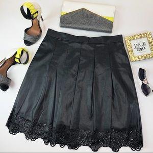 J. McLaughlin Black Faux Leather A-Line Skirt